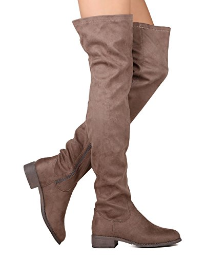 ShoBeautiful Women's Thigh High Flat Riding Boots Stretchy Girls Night Low Block Heel Pull on Dressy Casual Combat Boots Taupe - Knee Flat Over Boots The