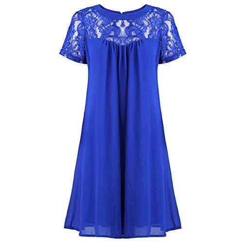 vanberfia Women's Lace Short Sleeve Loose Casual Chiffon Dress (S, 7882)