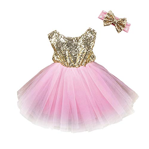 YENYEE Girls Sequins Tutu Dress Stretchy Toddler Kids Tulle Dress for Pageant Birthday Party with Sparkle Bowknot Headband 5-6T Gold/Pink