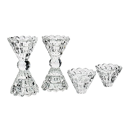 Romantic Crystal Clear Candle Holder Hand Cut Crystal Tealight Holders Banquet Decorations for Dinner,Pack of 4 ()