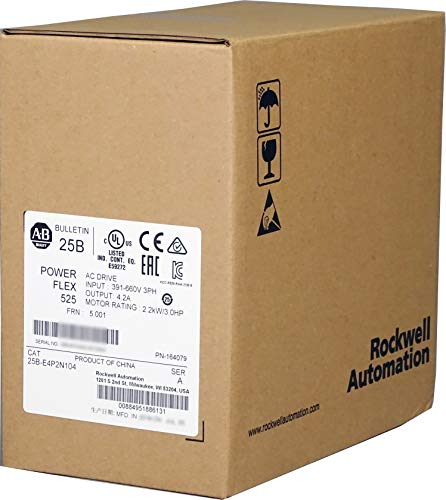 Allen-Bradley 25B-E4P2N104 PowerFlex 525 AC Drive, with Embedded EtherNet/IP and Safety, 600 VAC, 3 Phase, 3 HP, 2.2 kW Normal Duty; 3 HP, 2.2 kW Heavy Duty, Frame A, IP20 NEMA/Open Type, No Filter