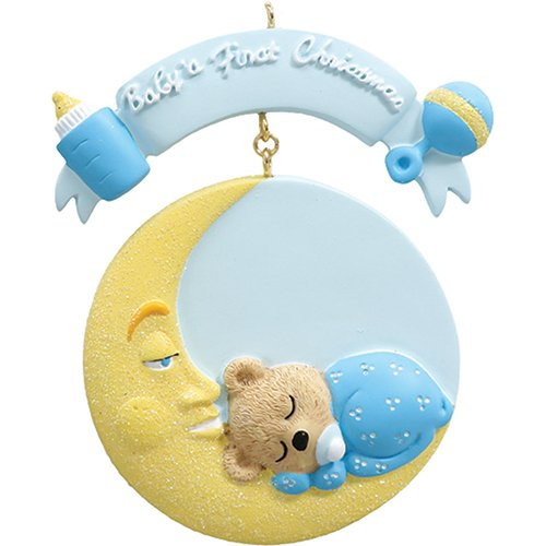 Personalized Baby's 1st Christmas Mr. Moon Tree Ornament 2019 - Little Bear Sleeping Round Bed Boy's First Glitter New Mom Shower Gift Grandson Kid - Free Customization (Blue)