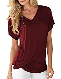Women's V-Neck Short Sleeve Twist Knot Ruched Basic Casual T-Shirts Tunic Shirt Tops
