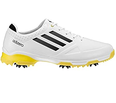 76e97500f7a0 Adidas Men s Adizero 6-Spike Golf Shoes WD White Black Yellow 9.5   Amazon.co.uk  Shoes   Bags