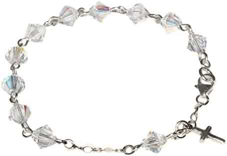 691181193 Child Rosary Bracelet made with Clear AB Swarovski Crystal elements - April  (Communion & more