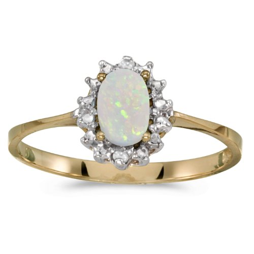 Opal And Diamond Ring (Size 7) (10k Solid Gold Ladys Ring)