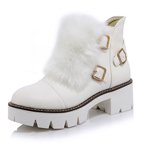 Imitated Buckle Chunky Boots 1TO9 Heels Leather Platform White Womens BtAnnqaxwX