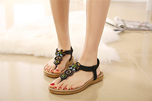 Fortuning's JDS Bohemian style Ethnic trend summer elastic flat sandals for ladies & girls Black 5lNh8