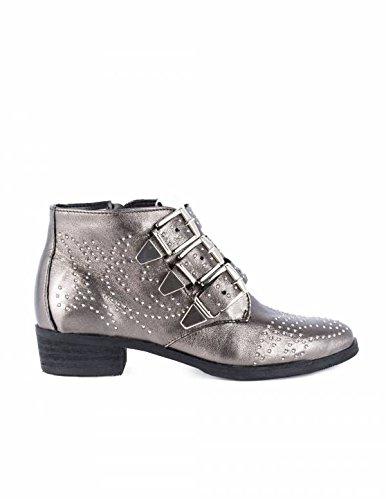Botines Tachuelas y Hebillas Plateados PERA LIMONERA - Color - Plata, Talla Zapatos Mujer - 41: Amazon.es: Zapatos y complementos