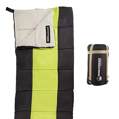 - Wakeman Outdoors Kids Sleeping Bag-Lightweight, Carrying Bag with Compression Straps-for Camping, Backpacking, and Sleepovers (Neon Green/Black)