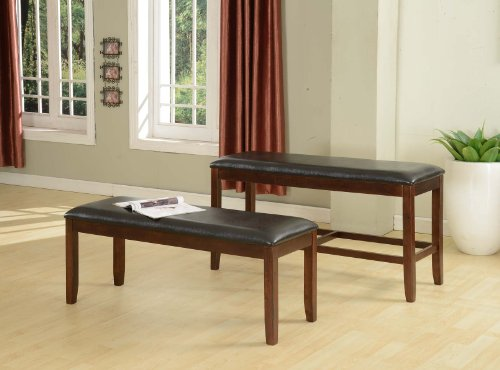 Roundhill Furniture Kecco Espresso Bonded Leather Counter Height Bench, 25-Inch by Roundhill