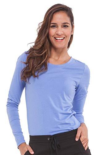 (healing hands Scrubs Melissa 5047 Knit Long Sleeve Underscrub Tee Shirt- Ceil Blue- M)