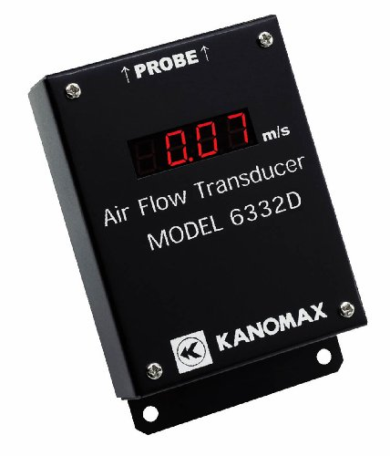 Kanomax 6332D Air Velocity Sensor/Airflow Transducer with Display, 0.10-50.0m/s Range, 3.1