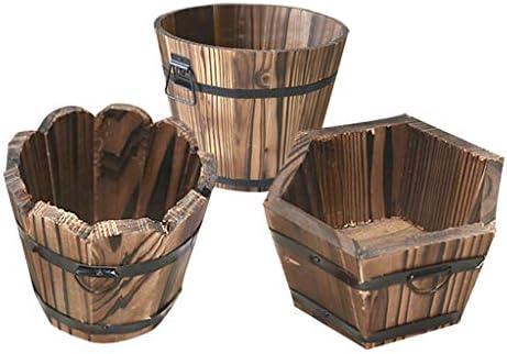CUTICATE 3x Cubo De Madera Olla Maceta De Flores Barril Jardín Patio Al Aire Libre Casa Decoración: Amazon.es: Jardín