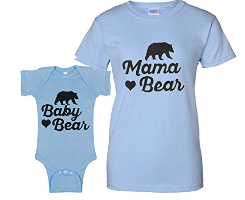 Southern Designs Mama Bear Matching Baby Romper and Mother Fashion Tee Gray