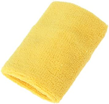 Artibetter Muñequera deportiva. Banda de algodón, tela de rizo, tenis, baloncesto, tenis, gimnasio, ejercicio (amarillo).: Amazon.es: Salud y cuidado personal