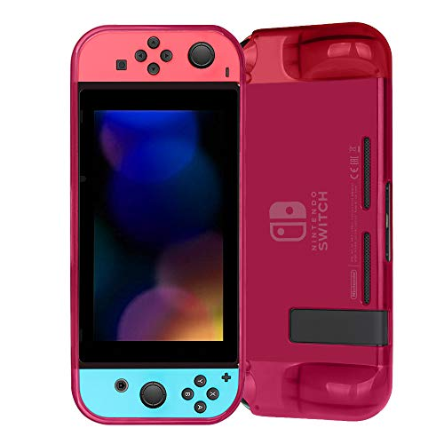Fintie Grip Case for Nintendo Switch - Soft TPU Protective Cover with Anti-Scratch Shock Absorption Ergonomic Grip Design, Crystal Magenta