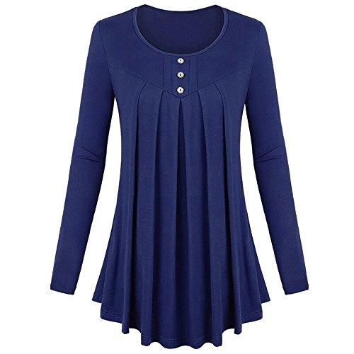 Blouse for Women Long Sleeve Kimloog Women Basic Solid Row Pleats Long Sleeve Single-Breasted Top T-Shirt Blouse(3XL, Blue ) ()