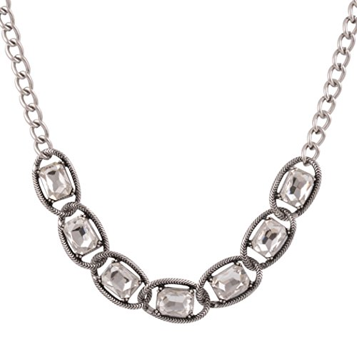 [Real Spark Women Gemstone Crystal Clear Glass Princess Statement Collar Chunky Necklace] (Garnet Cosplay Costume)