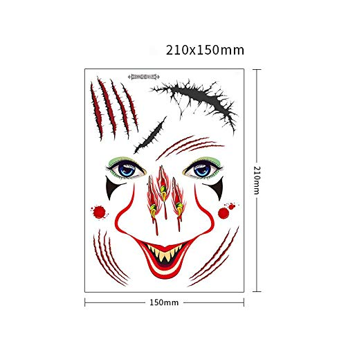 Temporary Scar Tattoos Halloween Makeup Stickers Face Tattoo 9 Sheets for Women Men Girls Boys Teens, Waterproof Bloody Wound Stitch Scab Zombie Makeup Tattoos for Cosplay Party Masquerade Prank (LT)