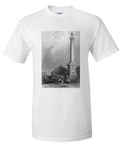 Pillars Framed Poster (Montreal, Quebec - View of Nelson's Pillar (White T-Shirt XX-Large))