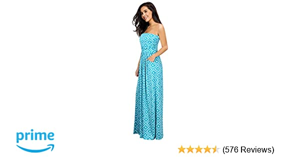82b58f7c458 Leadingstar Women s Strapless Floral Beach Party Maxi Dress at Amazon  Women s Clothing store