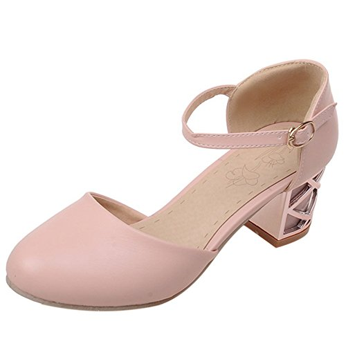Block Comfort Buckle Dating Heel Pink Women TAOFFEN Sandals B4Ytn