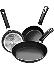 KICHLY Nonstick Frying Pan Set - 3 Piece Induction Bottom - 8 Inches, 9.5 Inches and 11 Inches