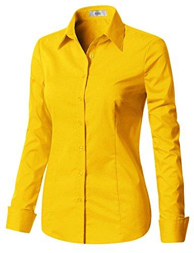EZEN Womens Tailored Slim Fit Dress Shirts Yellow 2XL Button Down Tailored Dress Shirt