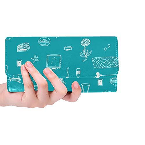 Unique Custom Bathroom Supplies, Hand-painted Ideas Women Trifold Wallet Long Purse Credit -