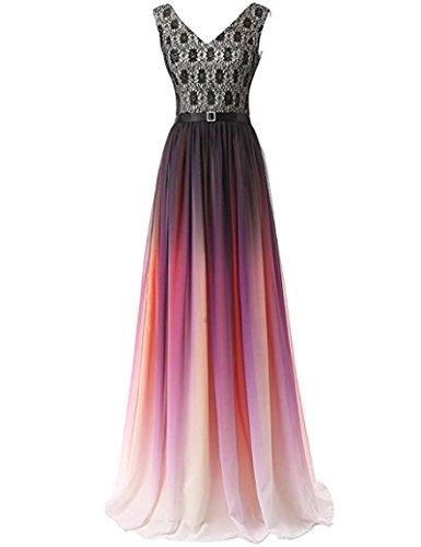 Dydsz Evening Party Dresses Long Prom Dress Women Ombre V Neck Lace A Line Chiffon D224 V3-Color 20 Plus