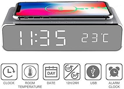 ZHISIDA Despertador inal/ámbrico de Carga para Todos los Dispositivos habilitados para Carga Qi Despertador Digital Moderno 2 en 1 con Cargador inal/ámbrico Qi y term/ómetro