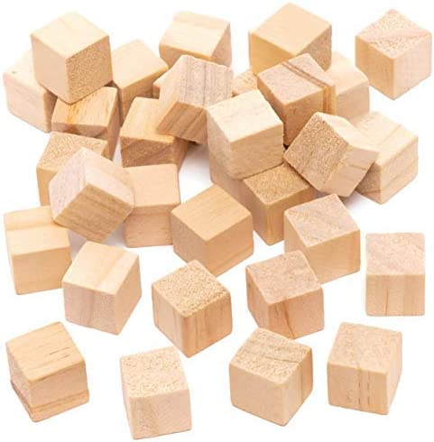 /Wooden Cubes 200PCS Natural Wooden Blocks Wooden Ornament Kids Arts and Craft /& Number Projects Educational Toys Gifts Pine Wood Craft Cubes for for DIY Stamps