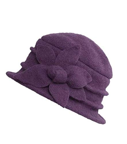 IPENNY Womens Girls Warm Wool Cloche Round Hat Wrinkled Floral Fedora Bucket Vintage Hat for Ladies