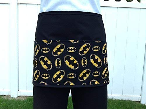 Waitress or Server, cute Batman Design apron 3 pocket black half Check out 300 More prints @ (Handmade Janet Aprons) waist aprons superheroes, restaurants cooking, kitchen, craft, gardening aprons