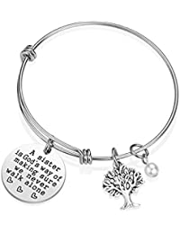 Sister Bracelet Sister Gift - A Sister is God's Way of Making Sure We Never Walk Alone Sister Jewelry Sister Gifts from Sister Christmas Birthday Gifts for Sisters