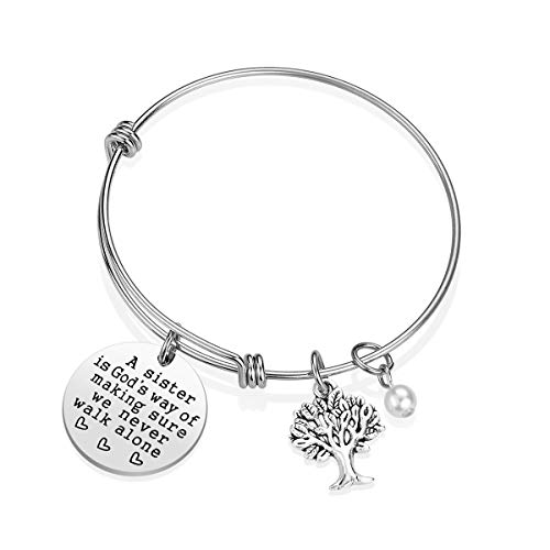 Sister Bracelet Sister Gift - A Sister is God's Way of Making Sure We Never Walk Alone Sister Jewelry Sister Gifts from Sister Christmas Birthday Gifts for Sisters (A) ()