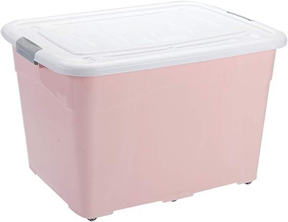Caja de almacenamiento de plástico con tapa, contenedor de almacenamiento apilable grande, caja de almacenamiento doméstica con ruedas, adecuada para el hogar / oficina / dormitorio ZDDAB: Amazon.es: Hogar