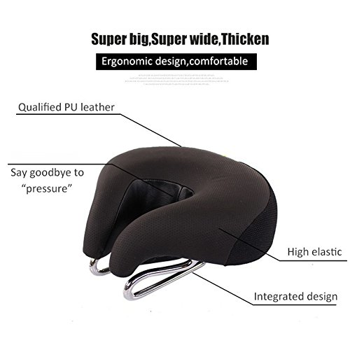 Zisen Wide Bike Saddle Seat Noseless High Resilience MTB Large Bicycle Seats Comfortable Outdoor Sports Cycling Pad Cushion for Women & Men Black by Zisen (Image #6)