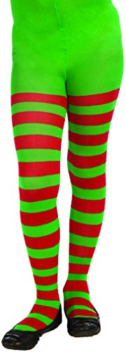 [Forum Novelties Novelty Striped Christmas Tights, Child Medium] (Green And Red Elf Costumes)