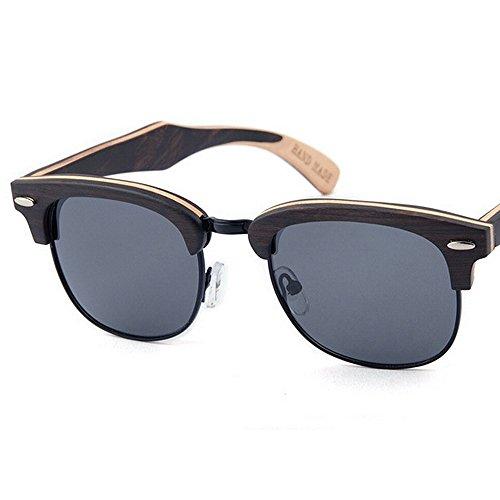 la de de de los alta sol Retro reborde protección mano conduce sol de hechas gafas de hombres madera gafas de a Remache la Sung Negro que Beach decoración sin calidad semi polarizadas sol gafas de las UV de EwHwTqO