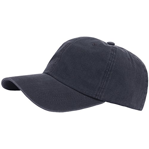 RaOn G63 Vintage Denim Washing Plus Size XL XXL Big Army Cap Baseball Hat Truckers (Black)