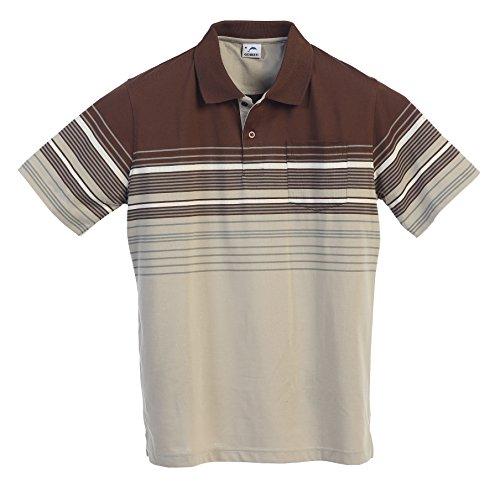 Striped Mens Khakis - Gioberti Mens Modern Fit Striped Polo Shirt with Pocket, Khaki, Small