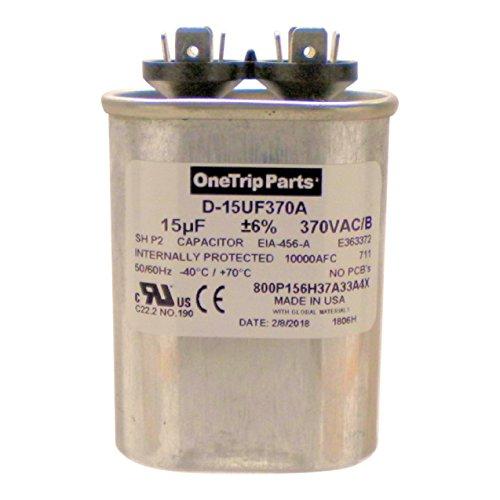 OneTrip Parts USA Run Capacitor 15 UF - 15 MFD 370 VAC Flat Oval