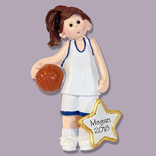 Female BASKETBALL PLAYER Personalized Ornament Hand PAINTED RESIN by Deb /& Co