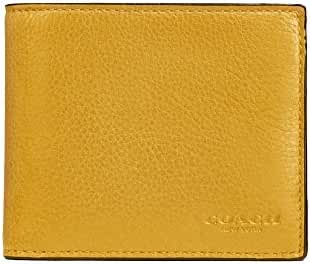 Coach Men's Compact ID Billfold Wallet In Sport Calf Leather Flax. Yellow