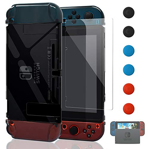 Updated Dockable Case Compatible Switch,FYOUNG Protective Accessories Clear Case Compatible Switch and Switch Joy-Cons with a Tempered Glass Screen Protector - Grey