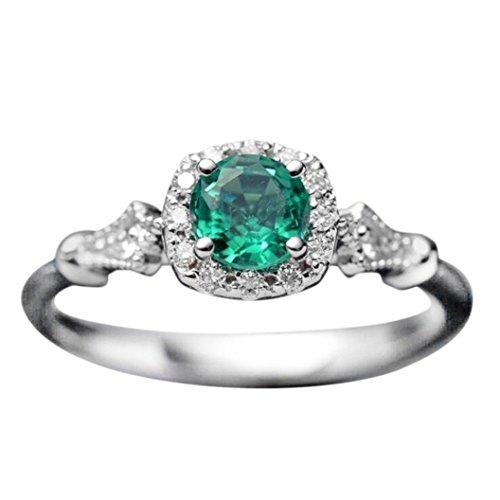 - Sinwo Women Vintage Beautiful White Diamond Engagement Wedding Band Ring Gift (8, Green)