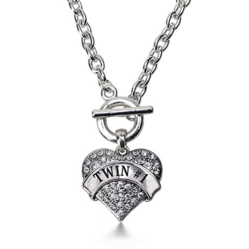 Clear Heart Necklace (Inspired Silver Twin #1 Pave Heart Toggle Necklace Clear Crystal Rhinestones)