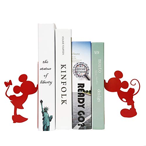 MsFun Mickey and Mini Bookends | Mouse Book Ends for Your Home | Great for Book Lovers | Bookends for Heavy Books | Decorative and Creative Bookends